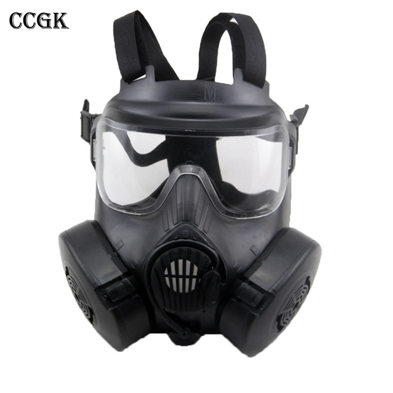 CCGK Respirator Gas Mask Military Style Skull Full Face Mask For Outdoor CS Masquerade Halloween Movie props M50 Tactical Masks protective outdoor war game military tactical full face shield mask black
