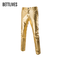 Brand Trend Metalic Gold Pant Men Night Club Fashion Mens Slim Fit Lightweight Trousers Party Stage