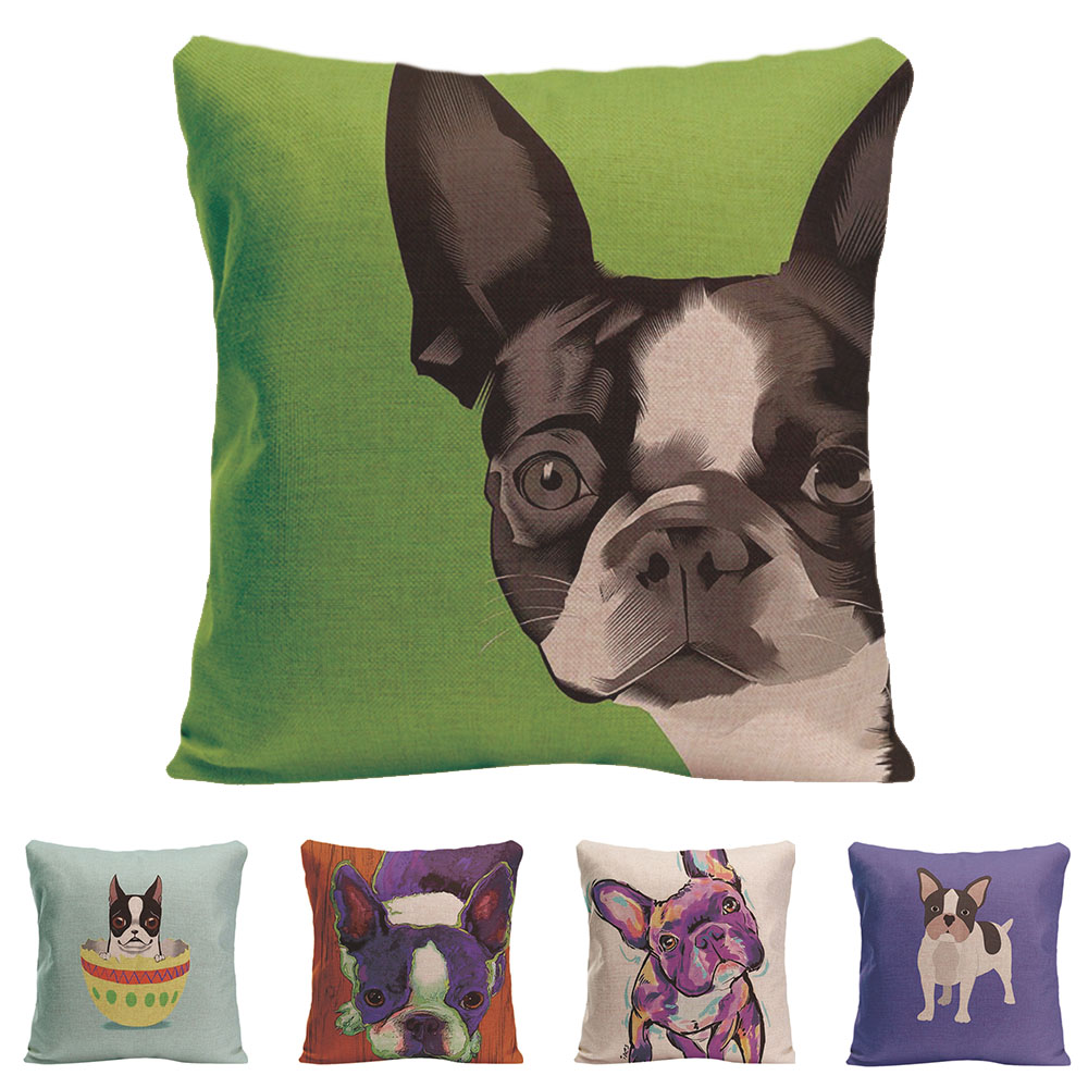 Two Sides Printing Cute Dog Funny Cushion Cover Animal French Bulldog Pug Dog Pillowcase Car Pillow Covers Decorative Home Decor