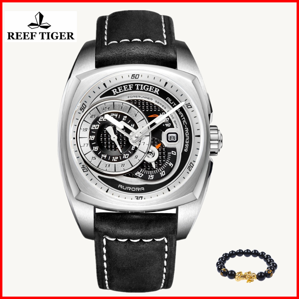 Reef Tiger Top Brand Mens Sport Watches Genuine Leather Strap Multi function Watch Automatic men watch