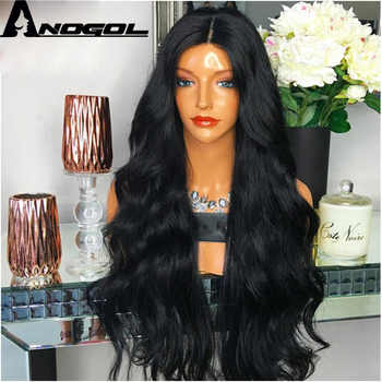 Anogol Brand New 180% density High Temperature Fiber Wigs Peurca 1B Long Body Wave Synthetic Lace Front Wig For Black Women