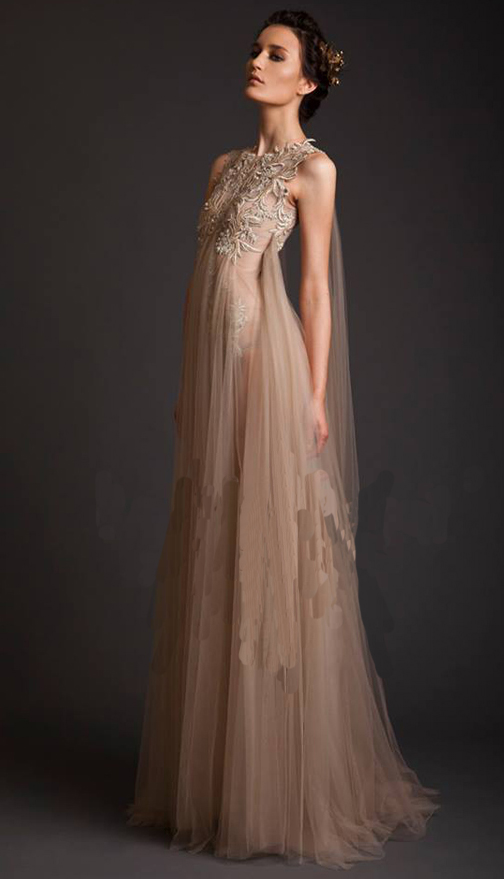 Unique Long Tulle   Evening     Dress   2017 Champagne A Line Sleeveless Empire Appliques Formal Party Prom   Dresses   Robe de soiree