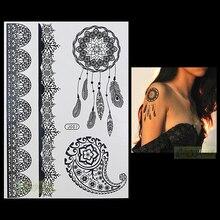 1PC Fashion Flash Waterproof Tattoo Women Black Henna Jewel Lace Strap BJ007 Dreamcatcher Shell Feather Temporary Tattoo Stick