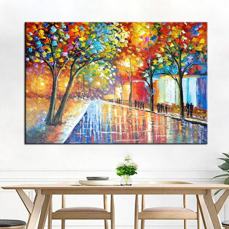 Knife 3D Night Street Scenery Wall Painting Hand Painted