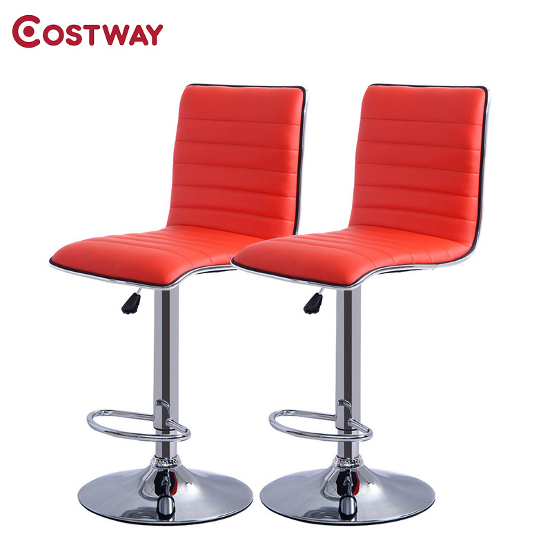 COSTWAY 2pcs Red PU Leather Modern Adjustable Bar Stool Swivel Chair Bar Chair Commercial Furniture Bar Tool HW50134