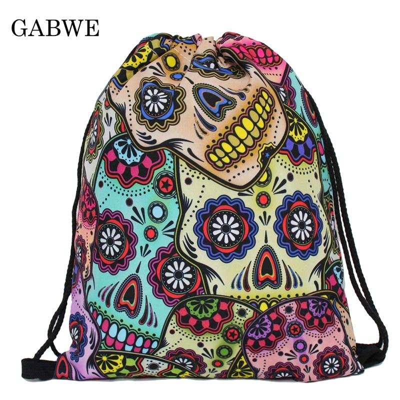 GABWE Fashion Women Skull Drawstring Bags 3D Printed Drawstring Backpack Travel Sack Bag Softback Mochilas