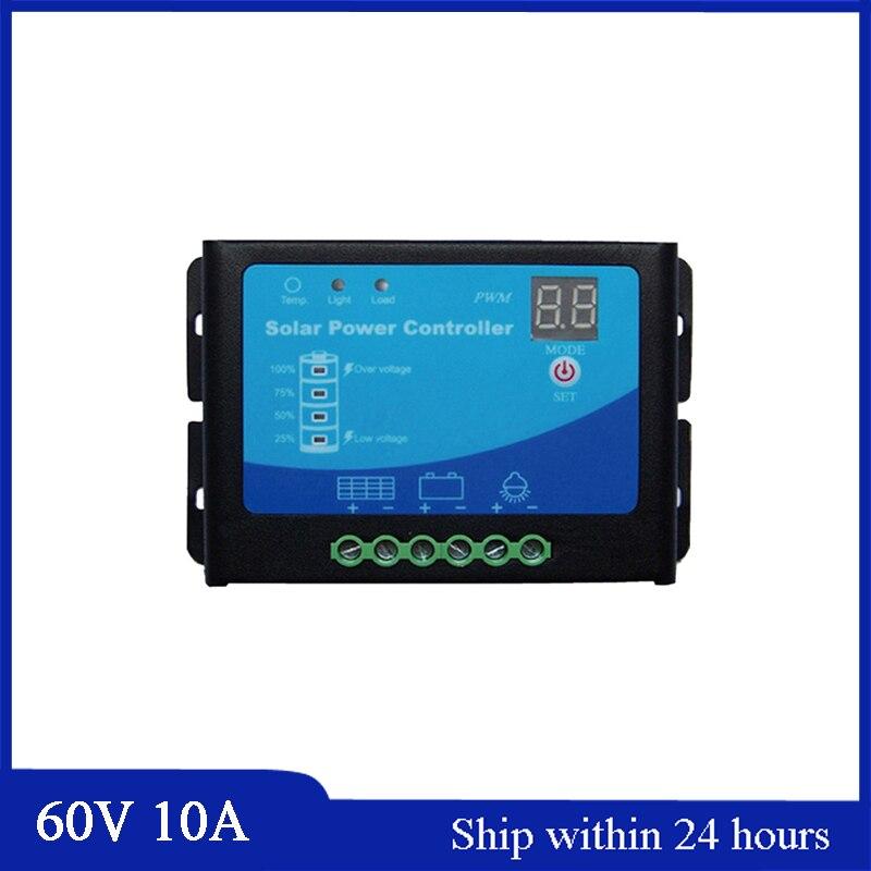 Смарт Тип 60В 10А Солнечный Регулятор режима PWM для Солнечной сад свет/уличный свет с Аль-оболочки/высокое качество электронных компонентов