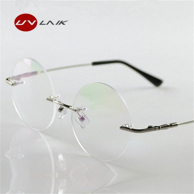 UVLAIK Fashion Men Women Rimless Eyeglasses Memory Titanium Alloy Harry Rimless Frames Brand Retro Round Glasses Frame