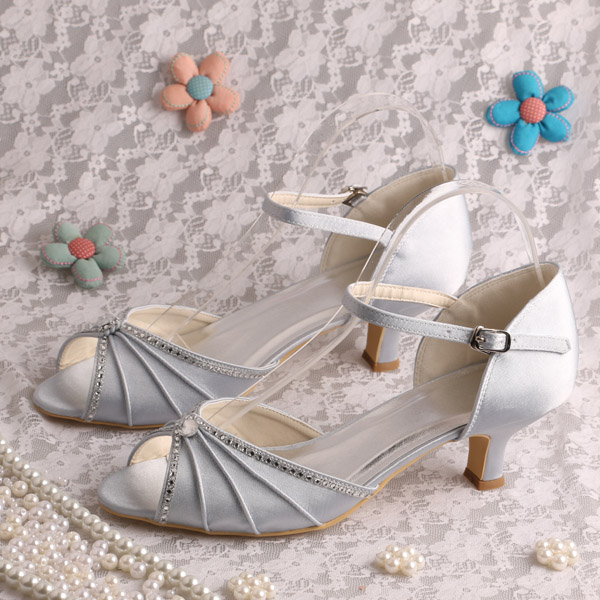 ФОТО (20 Colors)Wedopus Bridal Silver Shoes Low Heels Bridesmaid Sandals Plus Size Dropshipping