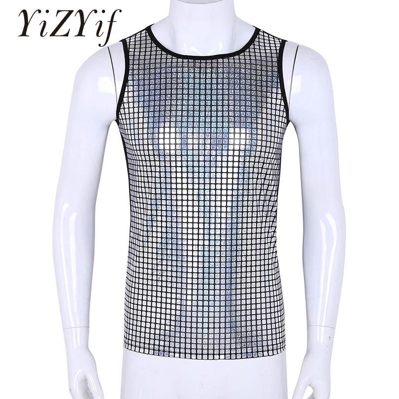 Mens Shiny Metallic Sleeveless Pullover Muscle Vest Tank Tops Nightclub Shirts