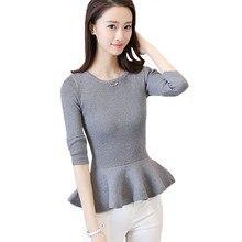 3431192559ba Autumn 2018 Women Sweater Ruffles Peplum Skirt Hemline Long Sleeve Solid  Knitted Tricot Pullover Jumper C78401