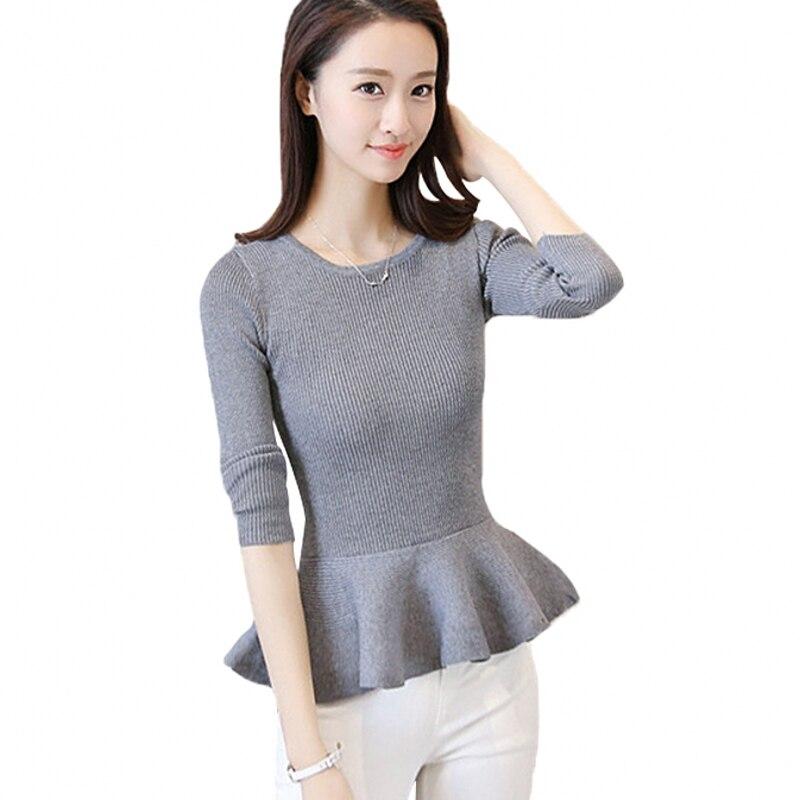 Autumn 2019 Women Sweater Ruffles Peplum Skirt Hemline Long Sleeve Solid Knitted Tricot Pullover Jumper C78401