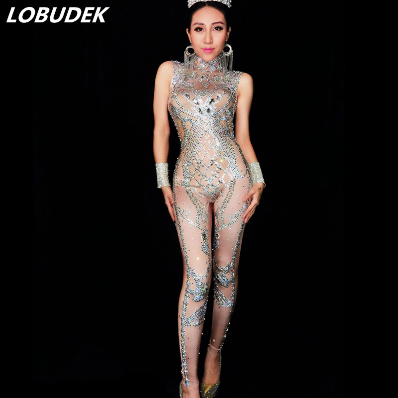 Full Rhinestones sexy Jumpsuit Sparkling Crystals DJ DS costumes Bar Club Female singer Catwalk Celebration Party stage Costume