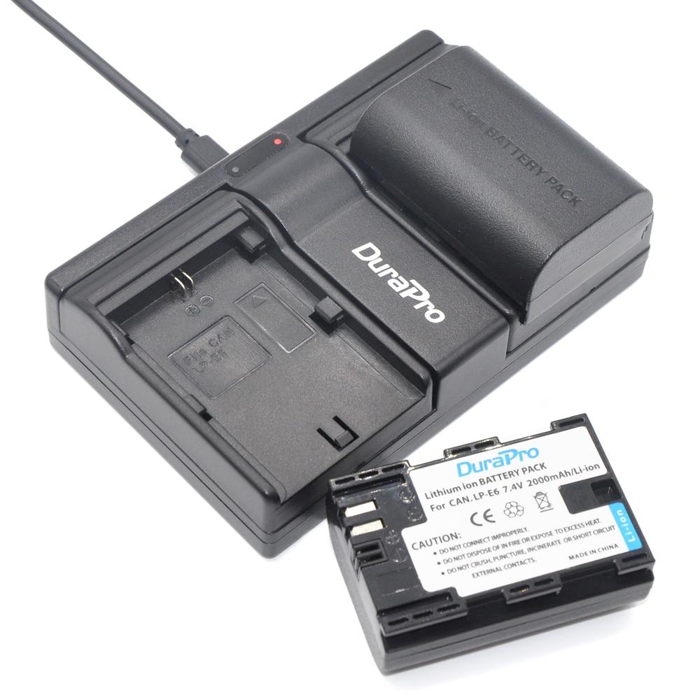 2 pcs Camera Batteries 2000 mAh <font><b>LP</b></font>&#8211;<font><b>E6</b></font> LPE6 <font><b>LP</b></font> <font><b>E6</b></font> Battery+Battery <font><b>Charger</b></font> For Canon EOS 5ds 5d Mark II iii 6d 7d 60d 60da 70d 80d