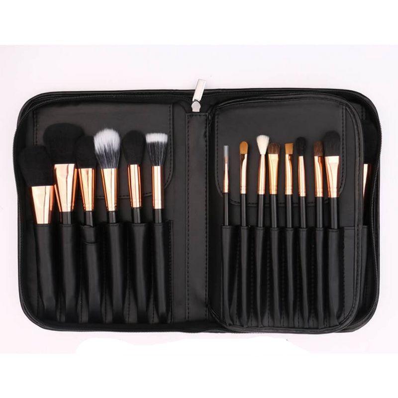 BEILI Black Professional 40 шт. набор кистей для макияжа мягкие натуральные щетинки смешивание порошка кисточка для бровей основа под макияж кисть - 4