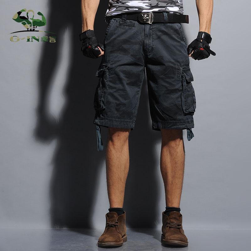2015 Summer Men's Army Cargo Work Casual Bermuda Shorts Men Fashion - Herreklær