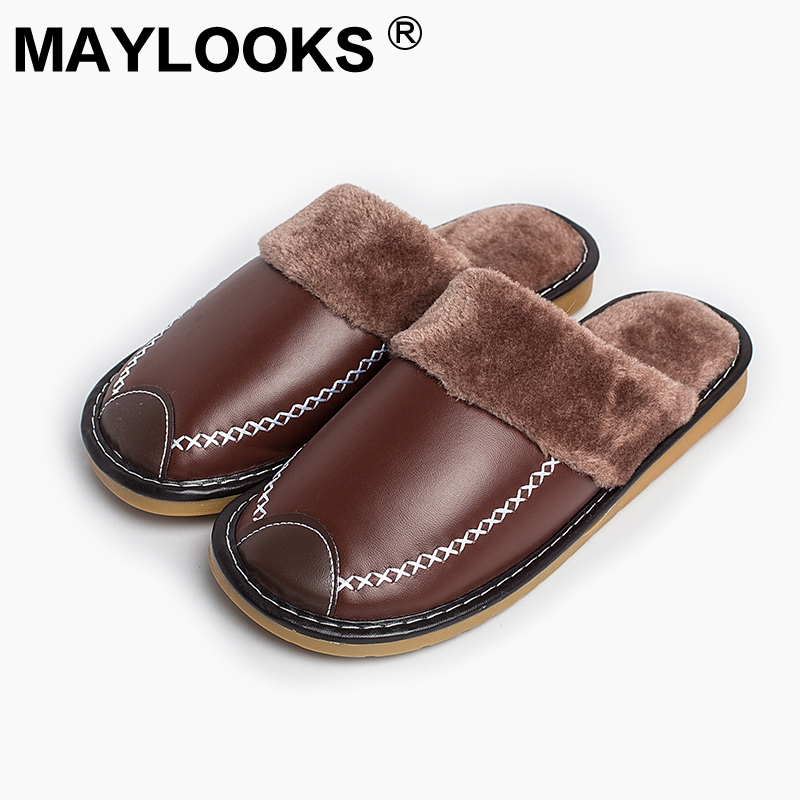 Heren Slippers Winter Pu leer dik met pluche Home Indoor antislip Thermische sloffen 2018 New Hot Sale Maylooks M-8831