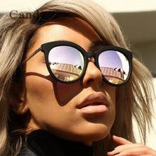 Classic Round Vintage Silver Mirror Quck Sunglasses Women Sun Glasses Metal Cat Eye Eyewear Fashion