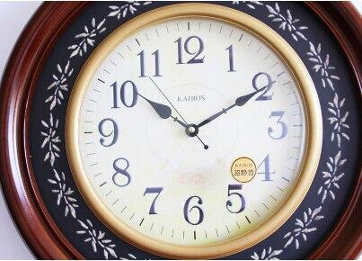 Европейские украшения для дома, высококачественные круглые деревянные настенные часы, высококачественные модные и креативные экологическ... - 2
