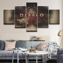 Wall Art Modular Canvas Living Room Home Decor Poster Frame 5 Pieces Gmae Demon Hunter Diablo Loge Painting HD Prints Pictures