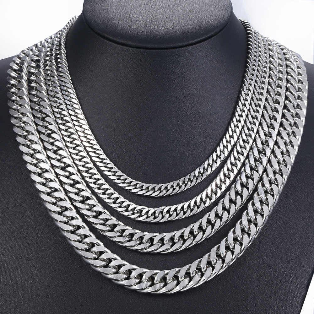 eacfae7dfd874 7-15mm Men's Stainless Steel Necklace Silver Color Curb Cuban Link Chain  Necklace Male Collar Fashion Jewelry 18-36