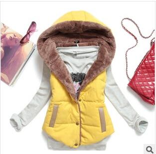 Winter Keep Warm Casual Thick Winter Vest Women Wool Liner Coletes De Pelo Femininas PU Patchwork Yellow Blue Army Green J09