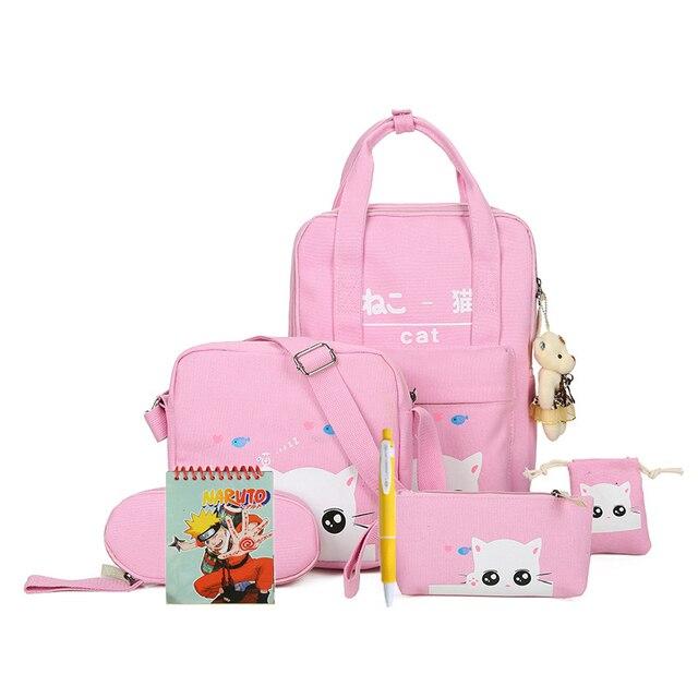 8 pcs/set Cats Printing School Backpacks Polyester School Bags For Teenagers Girls Cute School Bag Lady Travel Rucksack mochila