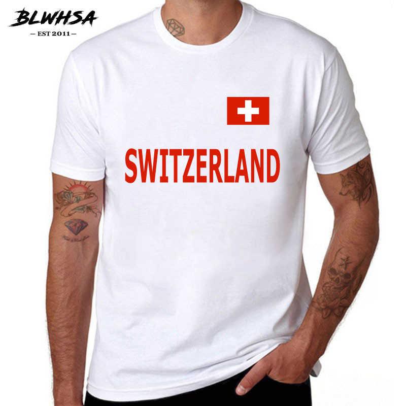 BLWHSA Nouveau Mode hommes T-Shirt décontracté À Manches Courtes Suisse Ventilateurs Impression O-cou À Manches Courtes D'été hauts T-shirts