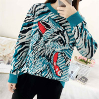 Runway Sweater Female Autumn Winter Sweater Women Wolf Head Embroidery Knitted Sweater damen pullover Oversized Ladies Jumpers