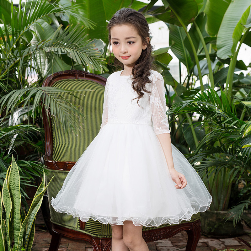 Baby Girl Lace Dress 2018 New Girls Birthday Wedding Party Princess Dresses Kids White Tutu Mesh Costume Children Clothes baby princess girl wedding birthday