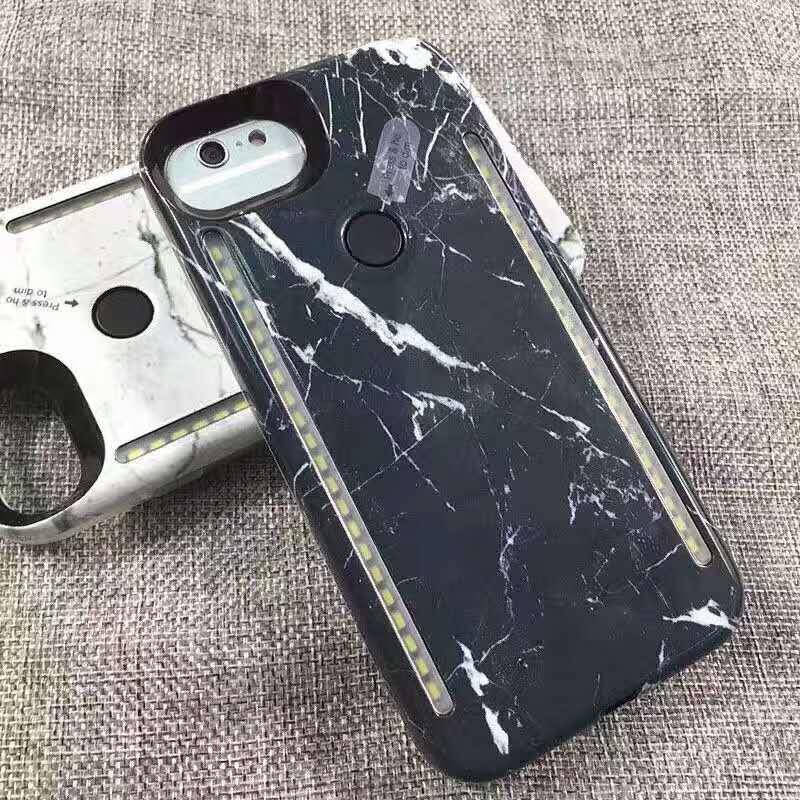 Цена за Мраморный Двухсторонний СВЕТОДИОДНЫЙ Белый Теплый Свет Селфи Телефон Случае Для iPhone 6 6 S 7 Плюс Жесткий PC Задняя Крышка Светящиеся Случаи