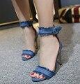 Verano de las mujeres Zapatos de Gladiador Sandalias de Tacón Alto Moda Marca Denim Hebilla Correa Sandlias Azul negro Sexy Zapatos de Las Señoras