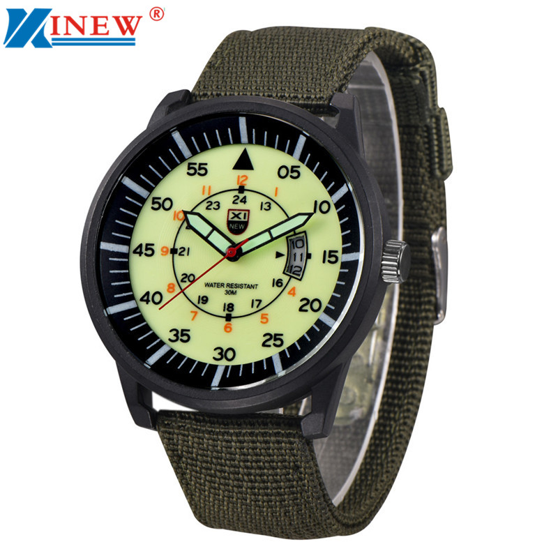 XINEW Fluorescence Mens Military Quartz Army Watch Steel Dial Canvas Strap Date Fashion Sport Wrist Watches Men Casual Watch cheaper in ear headset earphone for mp3 player computer mobile telephone wired earphone wholesale