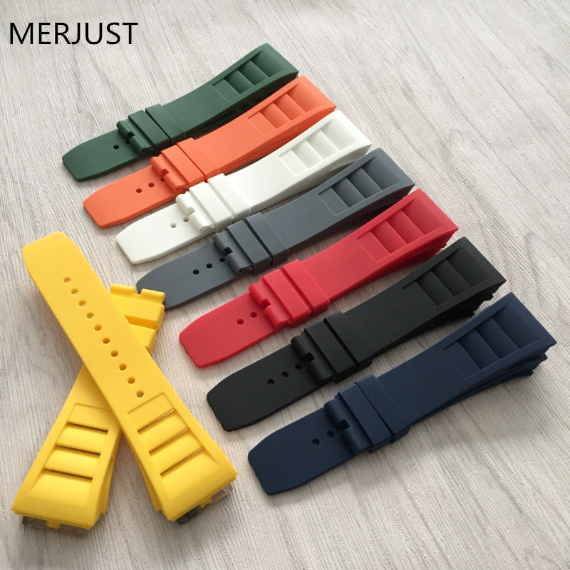 Top Quality Imported Nature Men Soft Silicone Rubber Watchband Watch Band For Mille Strap For RM Strap -011 For Richard Strap