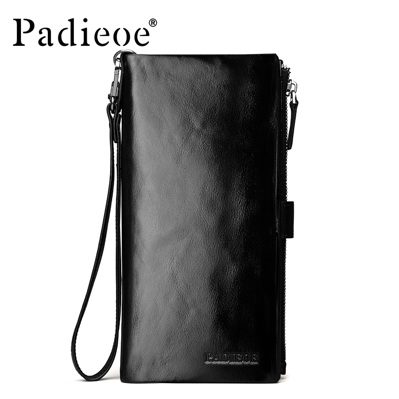 купить Padieoe Men Wallets Long Genuine Leather Clutch Wallet Key Chain Designer Brand Business Card Holder Purse по цене 6704.55 рублей