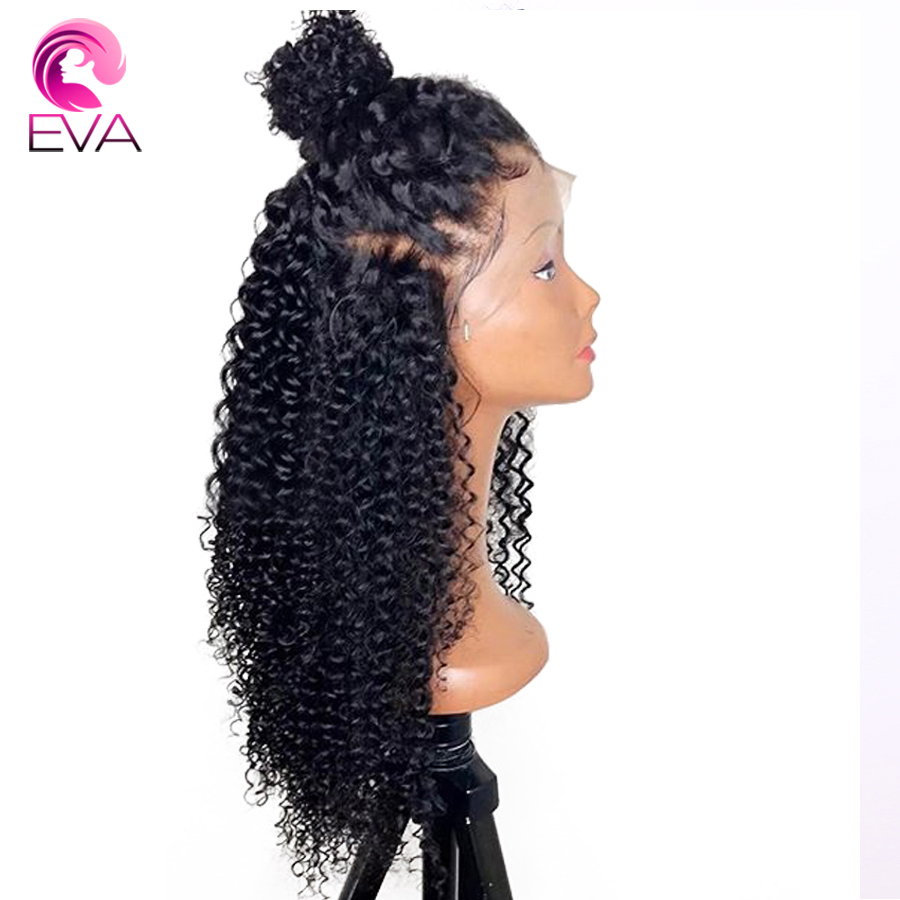 Eva 150% Density Curly Full Lace Human Hair Wigs Pre Plucked Brazilian Bleached Knots With Baby Hair Remy Hair Wig For Women