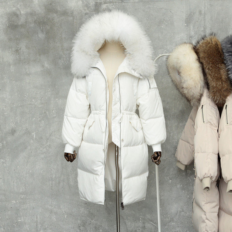 Down Jacket For Women Winter Thicken Warm Natural Raccoon Fur Collar Hooded Coats Female Fur Jacket Casual Loose   Parka   Outerwear