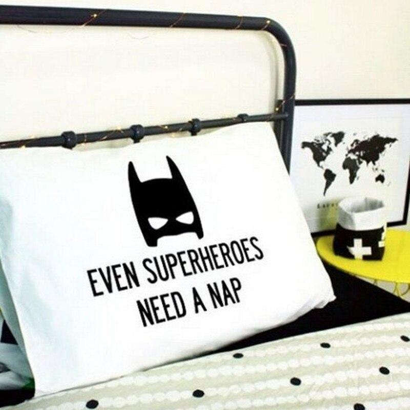 Bomuld Børneset Pudebetræk Cartoon Twill Batman Antlers Nordic Simple Julepude Sort Hvid Baby Room Pude Bedding