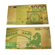 Colorful 1000 Euro Gold Foil Bill Banknotes PVC Money Collection