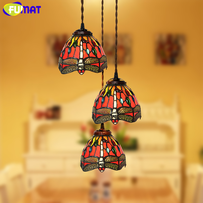 FUMAT Stained Glass Light European Style Red Dragonfly Glass Art Living Room Kitchen Dining Room Lamp LED Deco Pendant Lights fumat stained glass roses lightings modern art pendant light for living room restaurant lamp european style pendant lamp lights