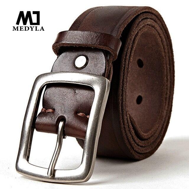 MEDYLA más grano completo de cuero genuino de la correa para hombres Casual  Vintage Pin hebilla 6c516a714deb