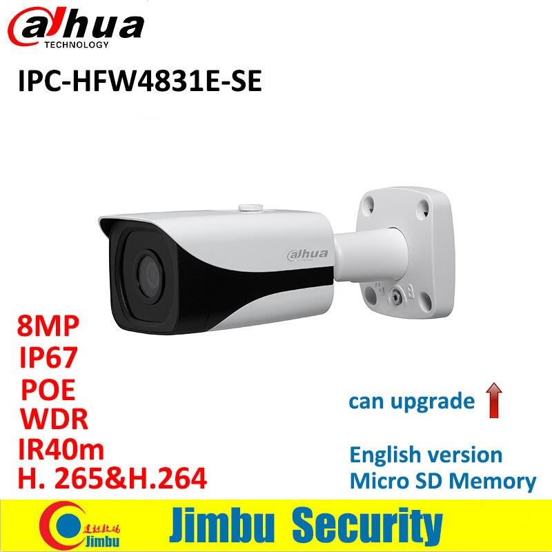 Dahua IP Camera 8MP POE IPC HFW4831E SE H 265 WDR IR40m Mini Bullet CCTV Camera