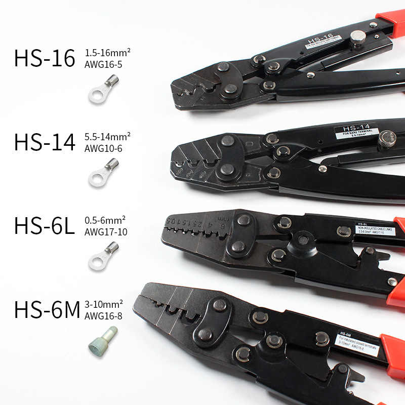 Insulated Terminals Non-Insulated Ferrules Plier Crimper 6-16mm2 AWG 10-6