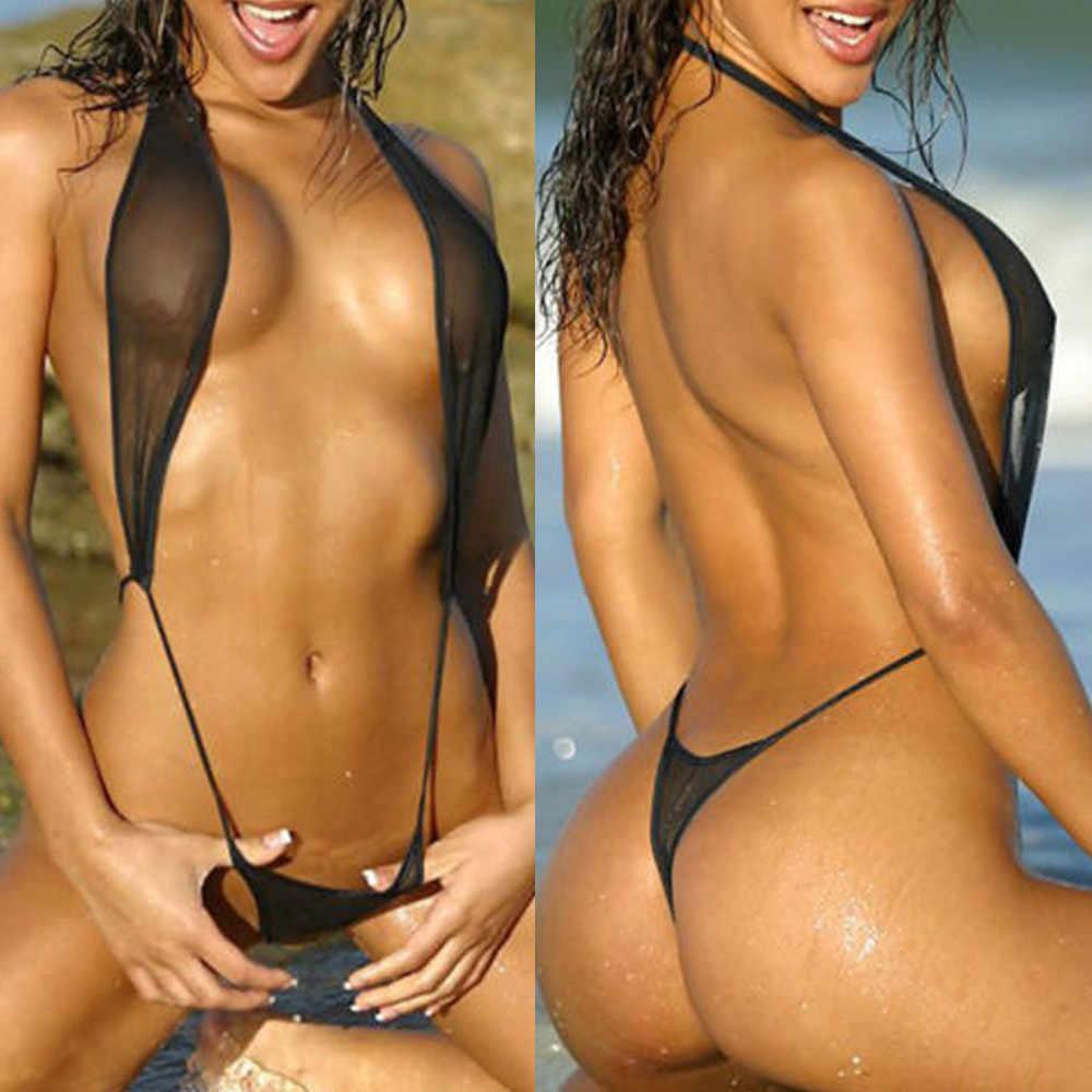 1 pieza mujer moda Sexy ropa interior encaje traje de baño alto corte sin espalda Bikini traje de baño ropa interior tamaño libre