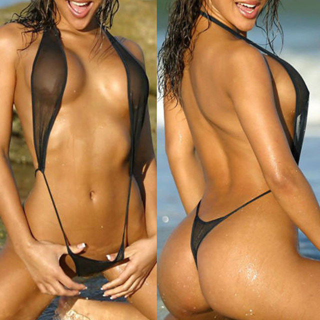 1pc Sexy lingerie Polyester Women One Piece black Swimsuit High Cut Backless Bikini Swimwear Underwear  Swimsuit Free size