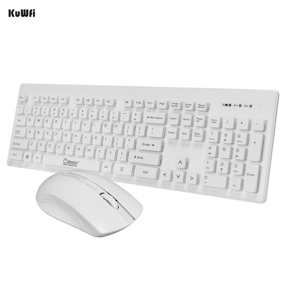 KuWFi 2.4GHz Wireless Keyboard Ultra Thin Design With Cover With Mouse Mice Kit For Laptop PC Computer Keyboard Set
