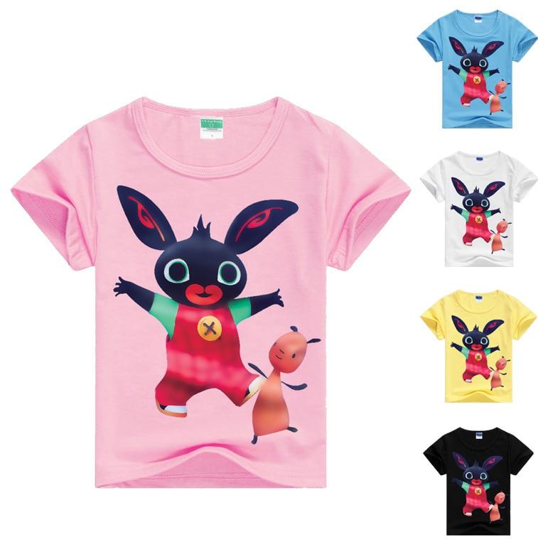 Z&Y 3-16Years GB British Bing Bung Clothing Rabbit Tshirt Girls T-shirt Fashion Boys Tshirts Boys Short Sleeve T Shirts Cartoon