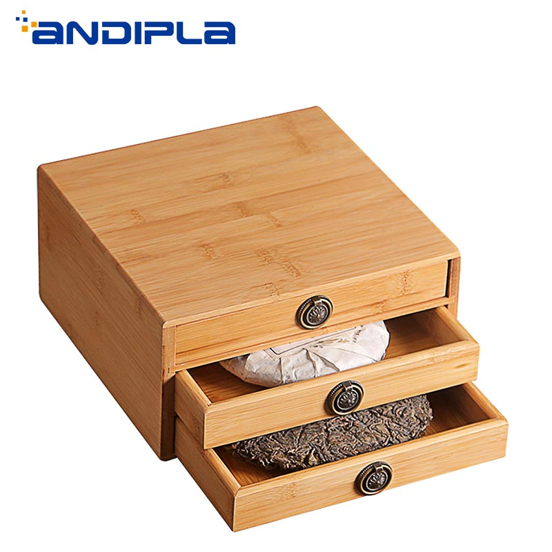 Bambou naturel récipient à thé Puer boîte de rangement de gâteau Kung Fu thé Set accessoires thé Caddy tiroir organisateur bambou boîte décor à la maison