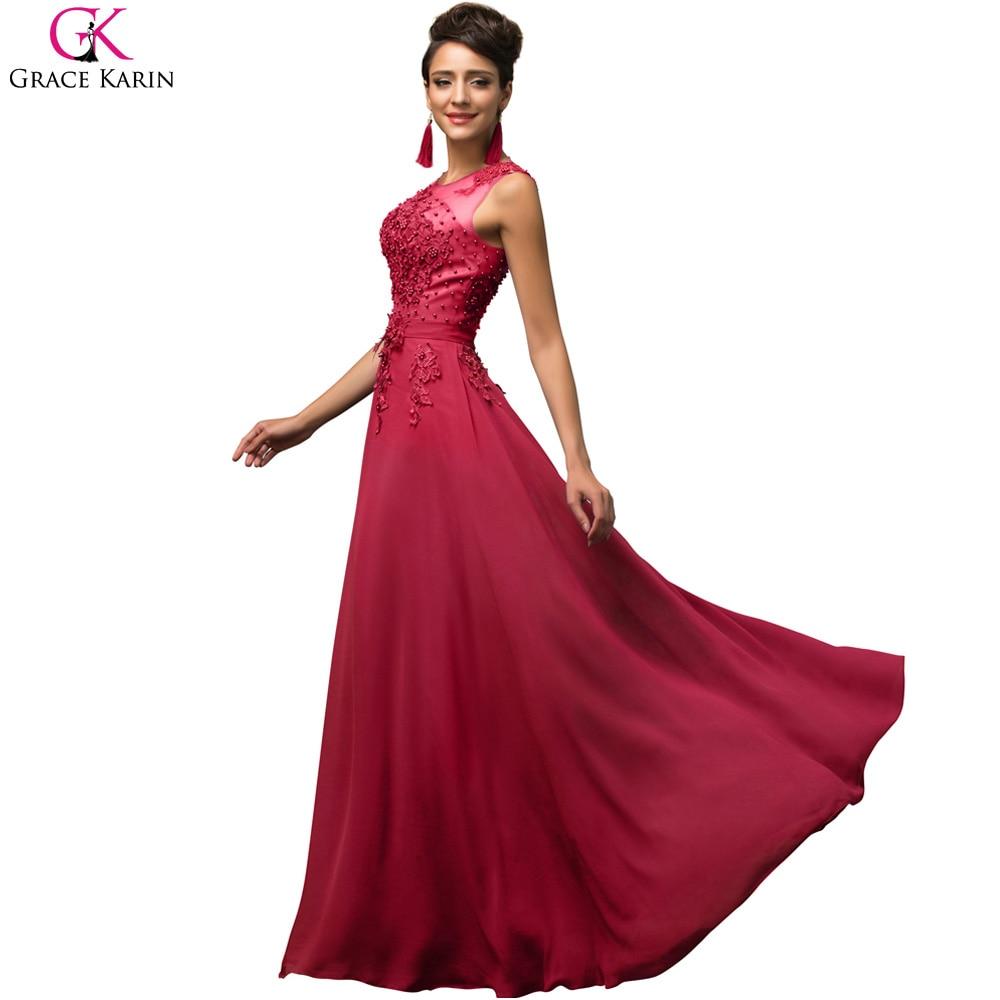 8376cc5299e9b9 Elegant Avondjurk Grace Karin Long A line Vestido Chiffon Sleeveless Pink  Purple Prom Dress Women Formal Evening Dresses 7555-in Evening Dresses from  ...