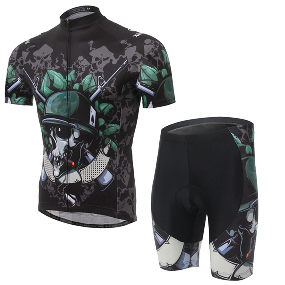 XinTown Cool Skeleton Soldier Cycling Men Jersey Set Cheap Bicycle Clothes Wear Man Mountain Bike Clothing for DHL Free Shipping